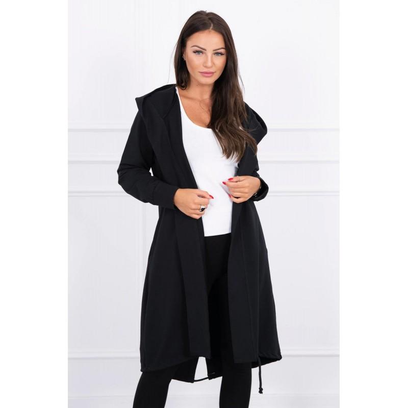 Cardigan negru dama casual-sport cu lungime medie