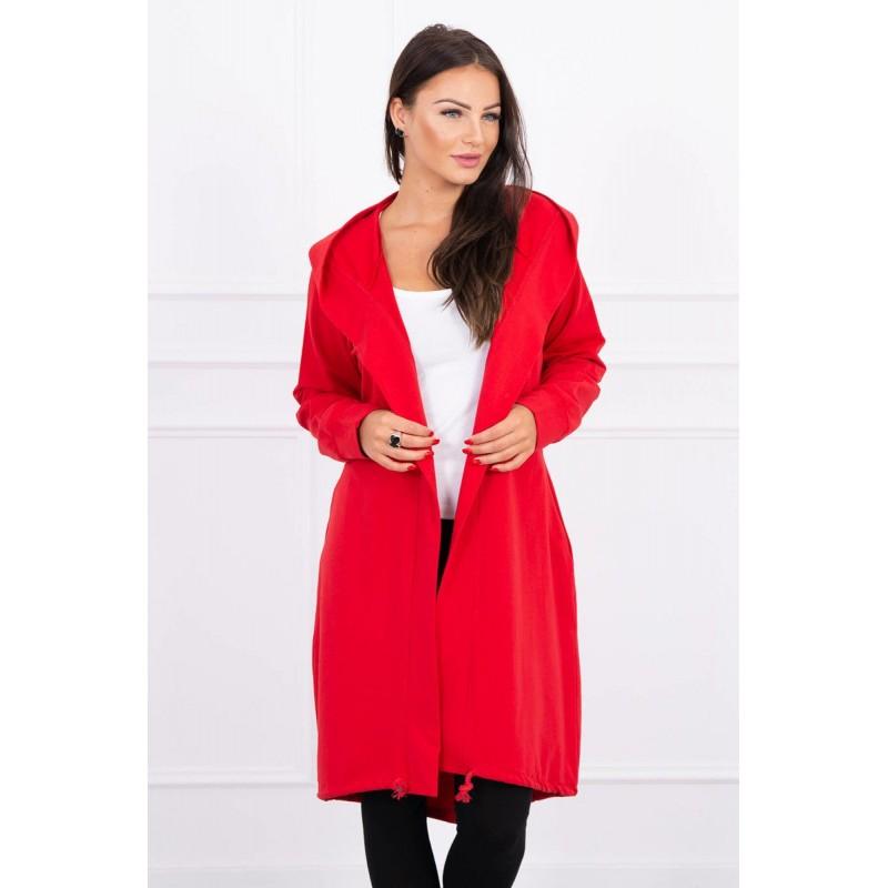 Cardigan rosu dama casual-sport cu lungime medie