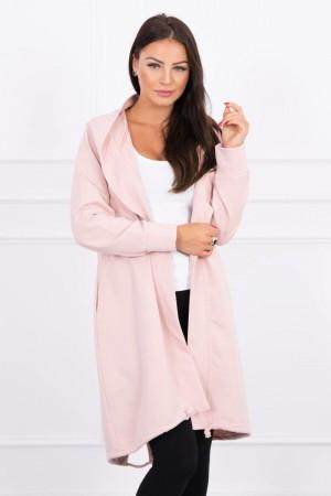 Cardigan roz dama casual-sport cu lungime medie
