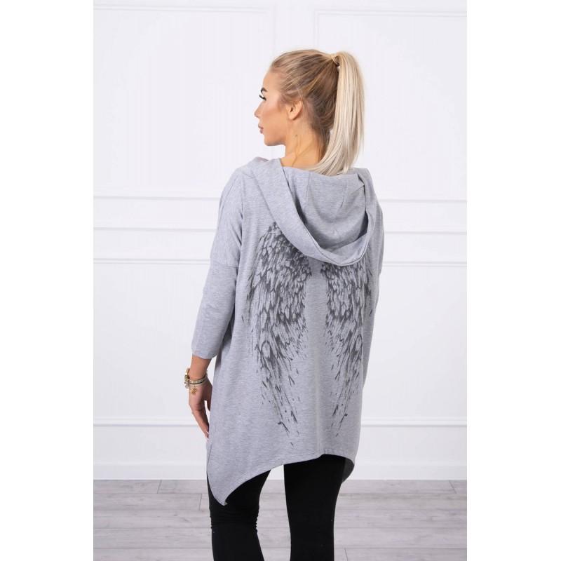 Bluza dama asimetrica cu gluga gri