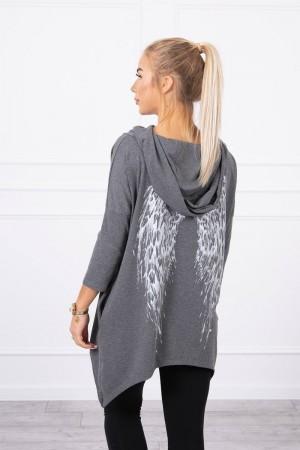 Bluza dama asimetrica cu gluga gri-inchis