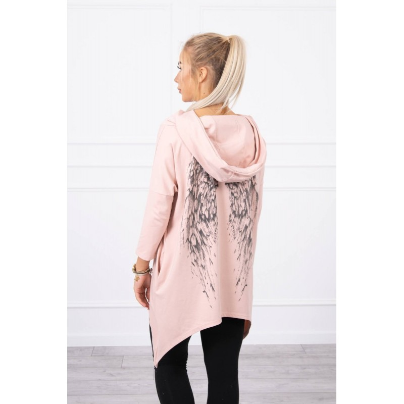 Bluza dama asimetrica cu gluga roz