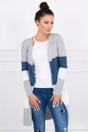 Cardigan multicolor cu lungime medie gri-albastru