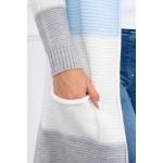 Cardigan multicolor cu lungime medie gri-bleu