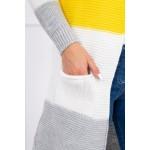 Cardigan multicolor cu lungime medie gri-galben