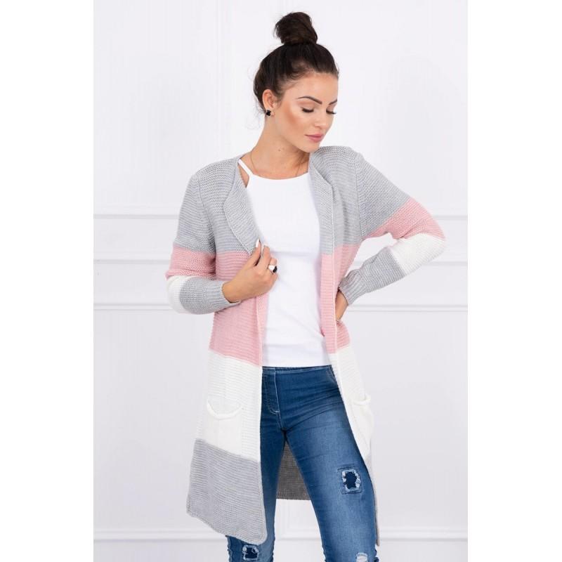 Cardigan multicolor cu lungime medie gri-roz-alb