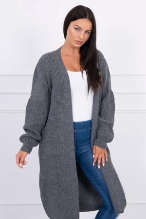 Cardigan dama lung gri inchis sport casual