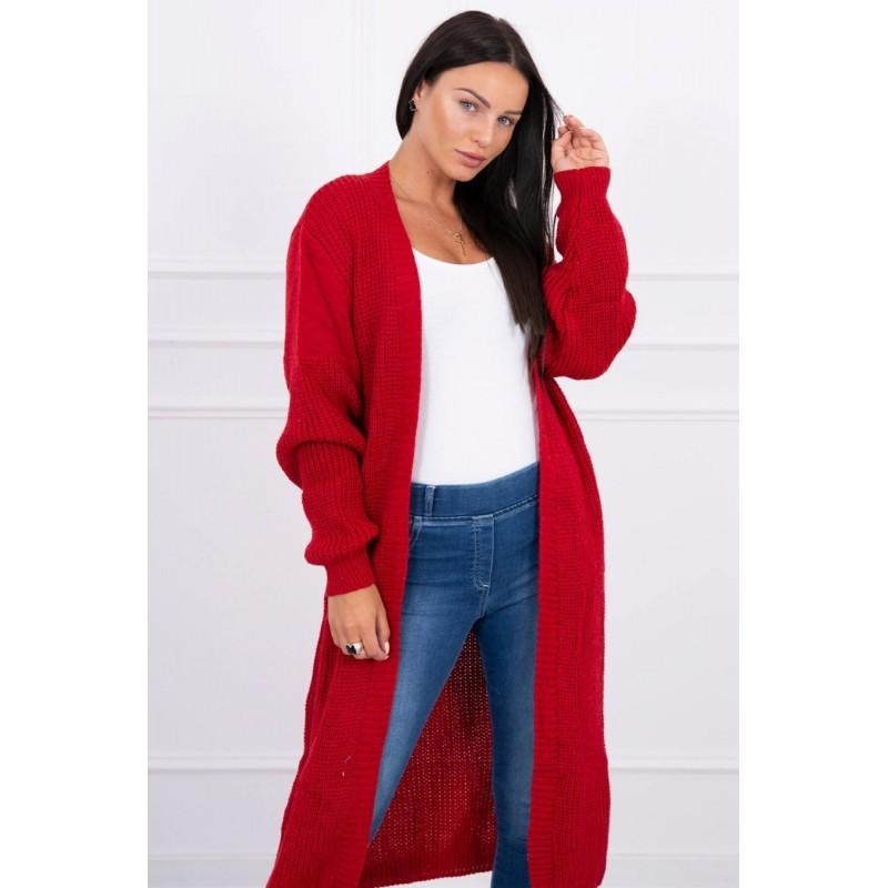 Cardigan lung de zi rosu tricotat