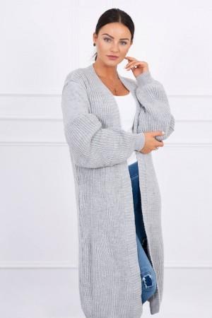 Cardigan lung din amestec de lana gri