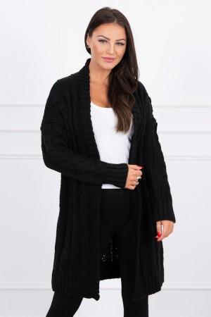 Cardigan dama cu torsade lung negru