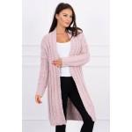 Cardigan dama cu torsade lung roz