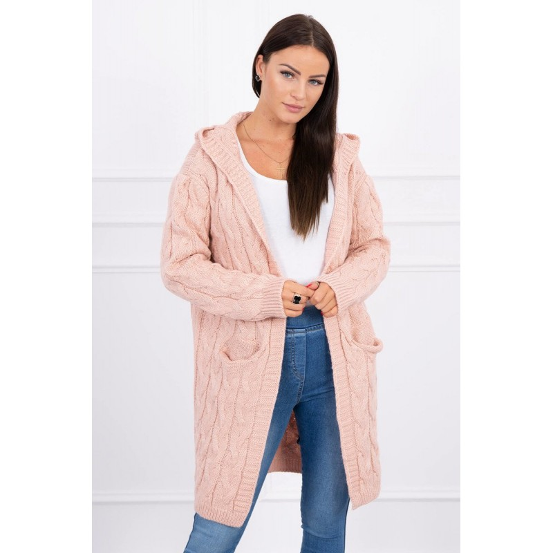 Cardigan tricotat cu gluga roz