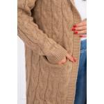 Cardigan tricotat cu gluga camel