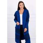 Cardigan dama lung in doua culori albastru