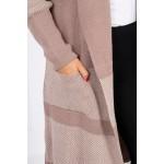 Cardigan dama lung in doua culori bej