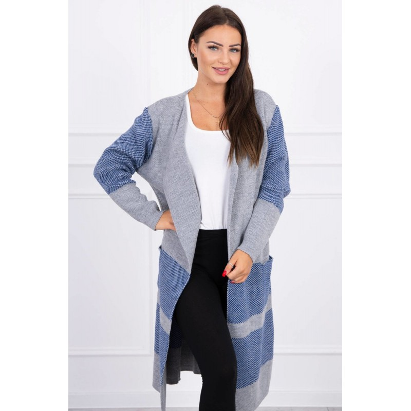 Cardigan dama lung in doua culori gri-bleu