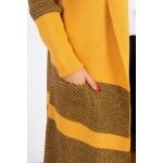 Cardigan dama lung in doua culori mustar
