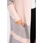 Cardigan dama lung in doua culori roz