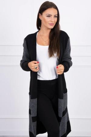 Cardigan negru dama lung in doua culori