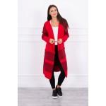 Cardigan rosu dama lung in doua culori