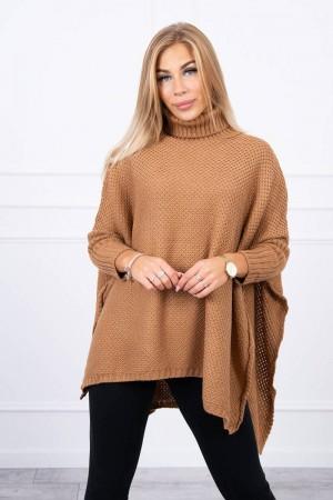 Pulover tip poncho dama asimetric camel