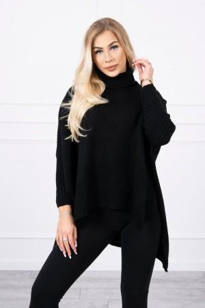 Pulover tip poncho dama asimetric negru