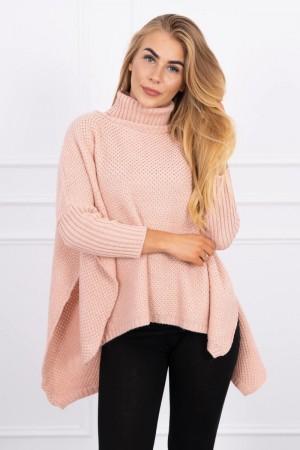 Pulover tip poncho dama asimetric roz-deschis