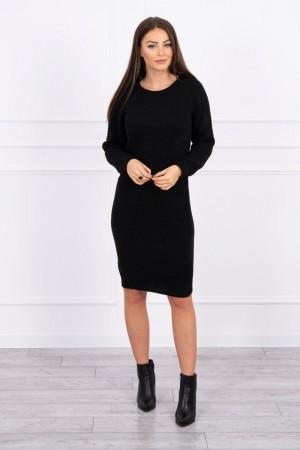 Rochie tricotata lunga cu maneci lungi neagra