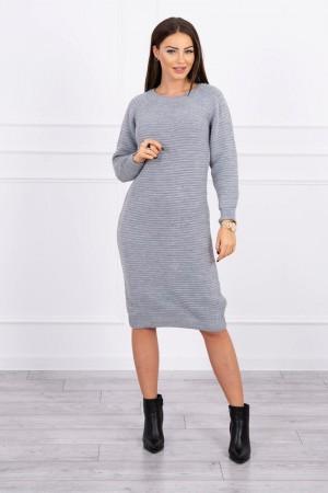 Rochie tricotata lunga cu maneci lungi gri
