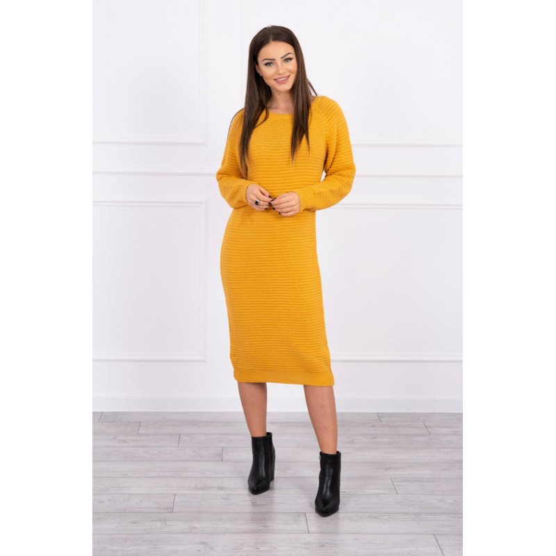 Rochie tricotata lunga cu maneci lungi mustar