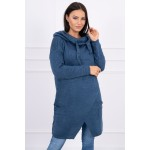 Cardigan de dama tricotat albastru cu lungime medie