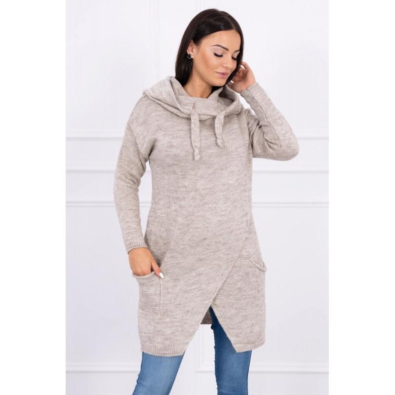 Cardigan de dama tricotat bej-inchis cu lungime medie