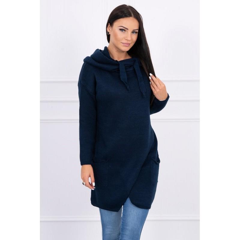 Cardigan de dama tricotat  bleumarin cu lungime medie