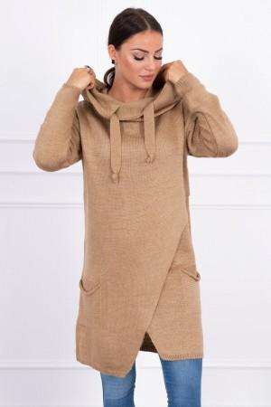 Cardigan de dama tricotat camel cu lungime medie