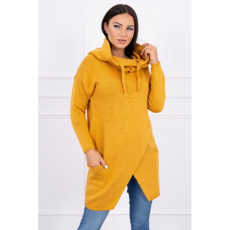 Cardigan de dama tricotat mustar cu lungime medie
