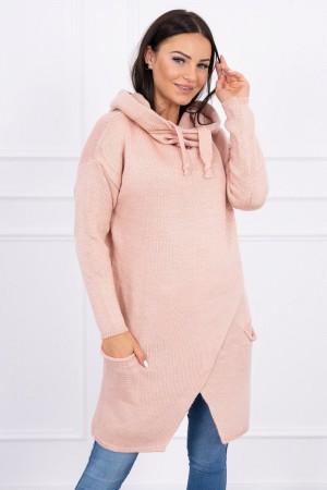 Cardigan de dama tricotat roz cu lungime medie