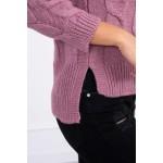 Pulover scurt cu torsade roz