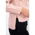 Pulover scurt cu torsade roz-deschis