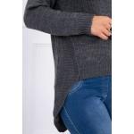 Pulover casual asimetric gri-inchis