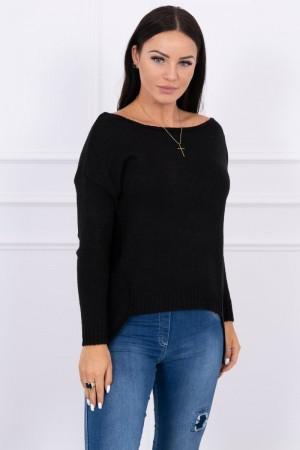 Pulover negru casual asimetric