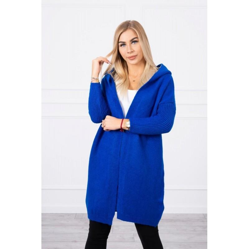 Cardigan de dama lung albastru cu gluga