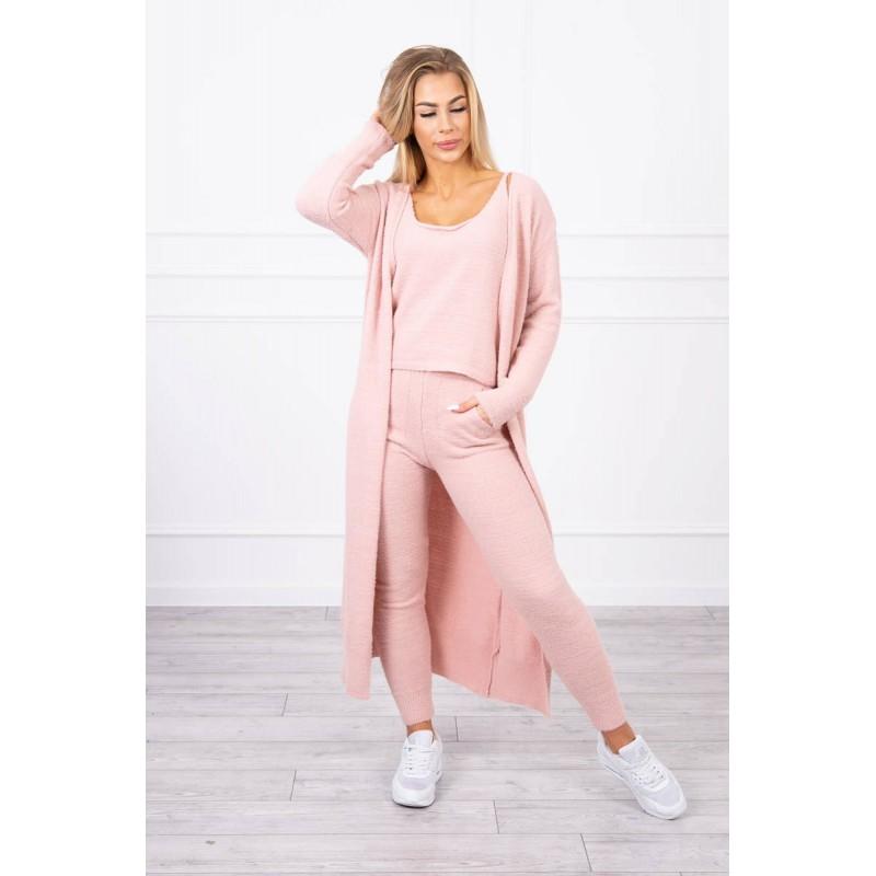 Compleu dama tricotat roz pantaloni,maieu si cardigan