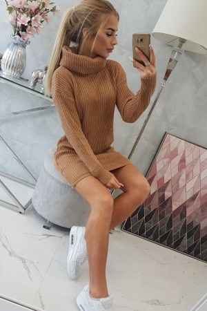 Pulover lejer tip tunica casual sport camel