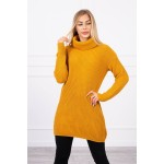 Pulover lejer tip tunica casual sport mustar