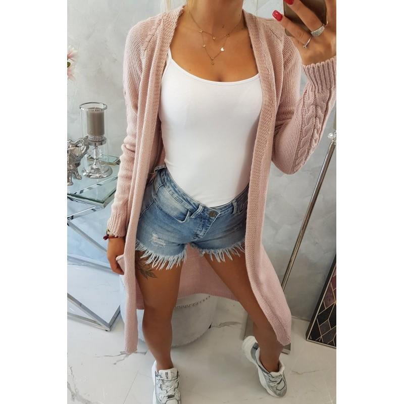 Cardigan lung elegant cu buzunare laterale roz