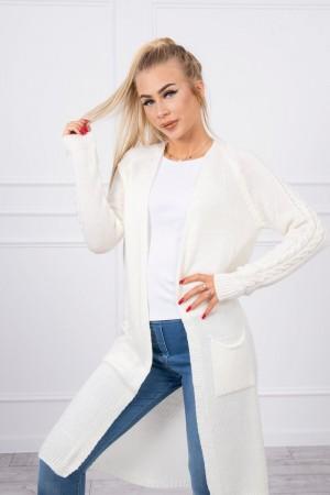 Cardigan de dama in trend lung alb