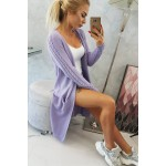 Cardigan lung dama violet cu model decorativ
