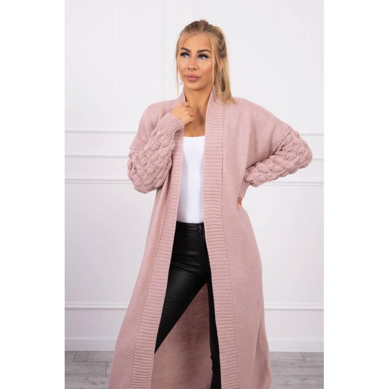 Cardigan lung de dama roz