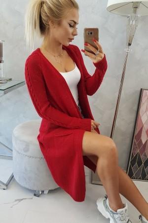 Cardigan de dama in trend lung rosu