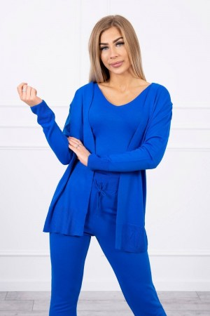 Compleu 3 piese pantaloni, pulover si top albastru